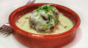 German meatball in capers and cream sauce